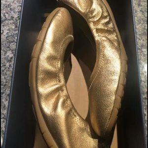 Cole Haan ZeroGrand Ballet II Flat Gold Shimmer